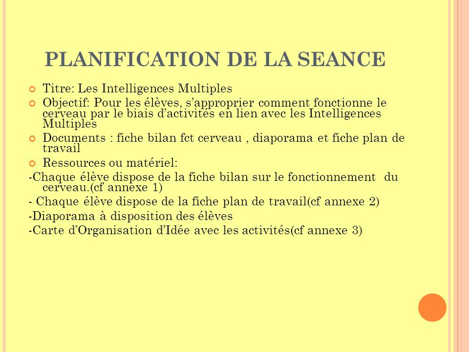 PLANIFICATION DE LA SEANCE