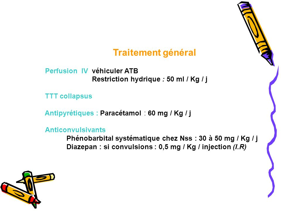 Perfusion IV véhiculer ATB Restriction hydrique : 50 ml / Kg / j