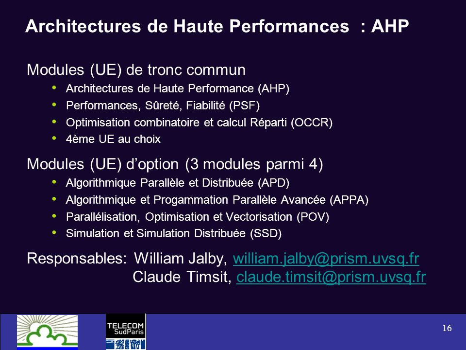 Architectures de Haute Performances : AHP