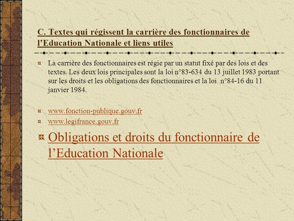 Obligations et droits du fonctionnaire de l'Education Nationale