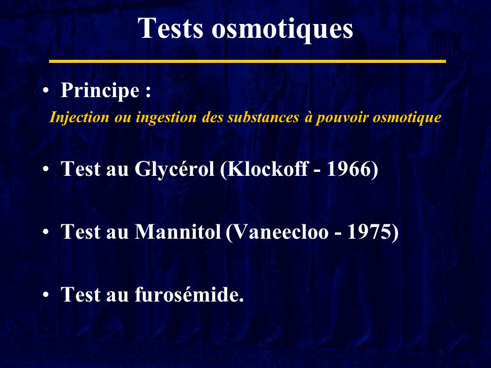 Injection ou ingestion des substances à pouvoir osmotique