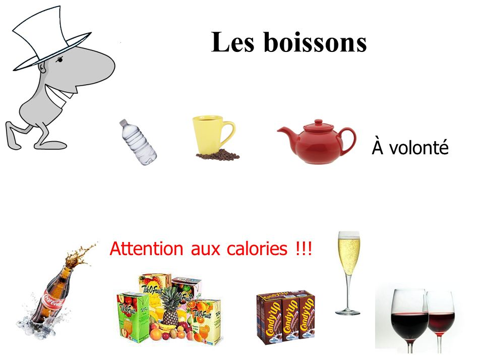 Les boissons À volonté Attention aux calories !!!