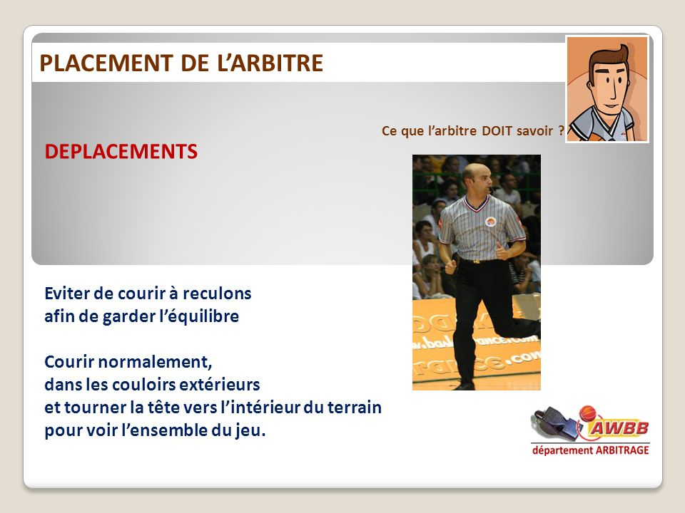 PLACEMENT DE L'ARBITRE