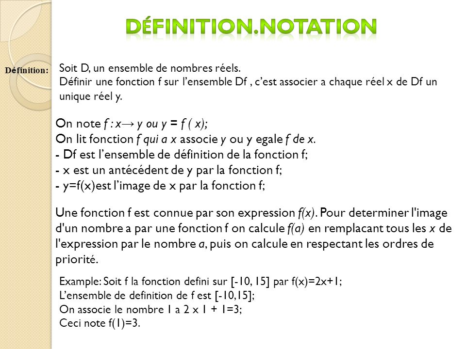 Définition.Notation On note f : x→ y ou y = f ( x);