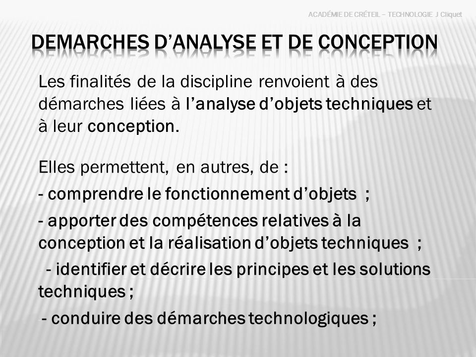 DEMARCHES D'ANALYSE ET DE conception