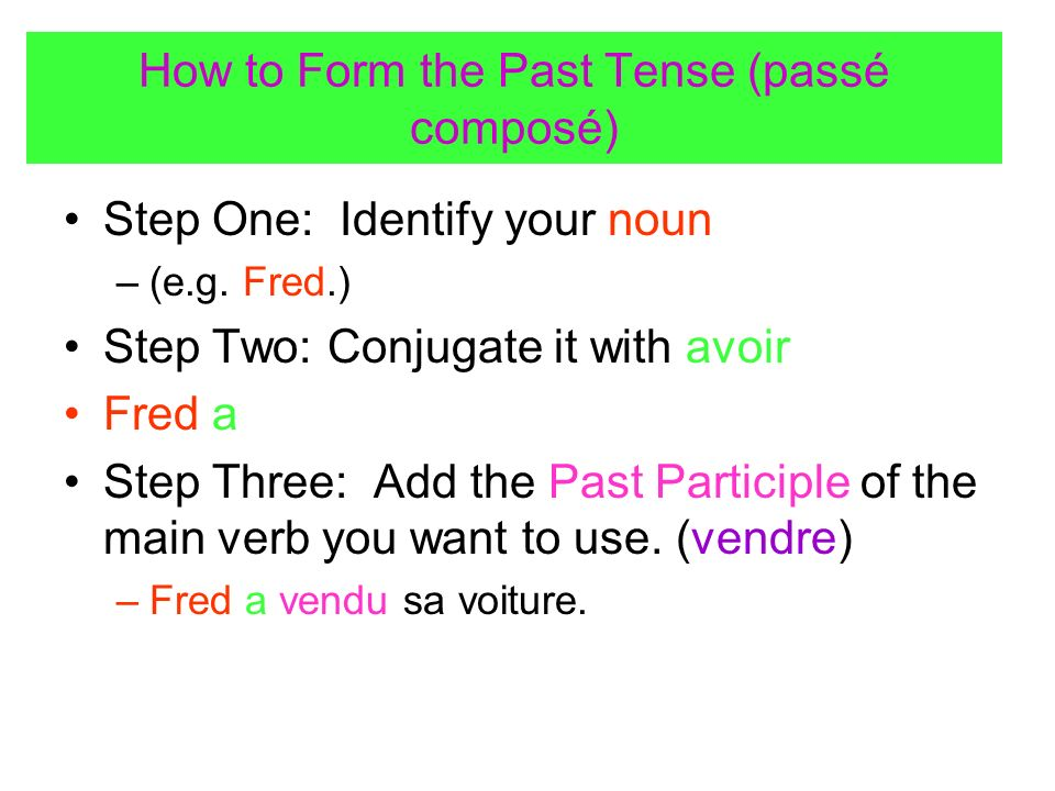 How to Form the Past Tense (passé composé)