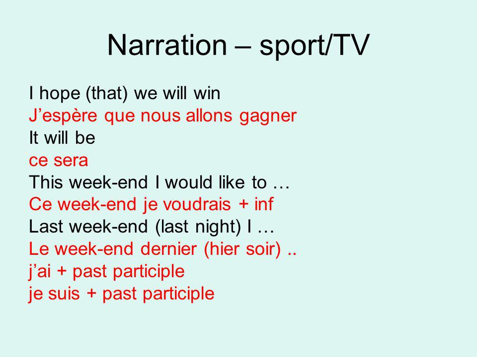Narration – sport/TV I hope (that) we will win