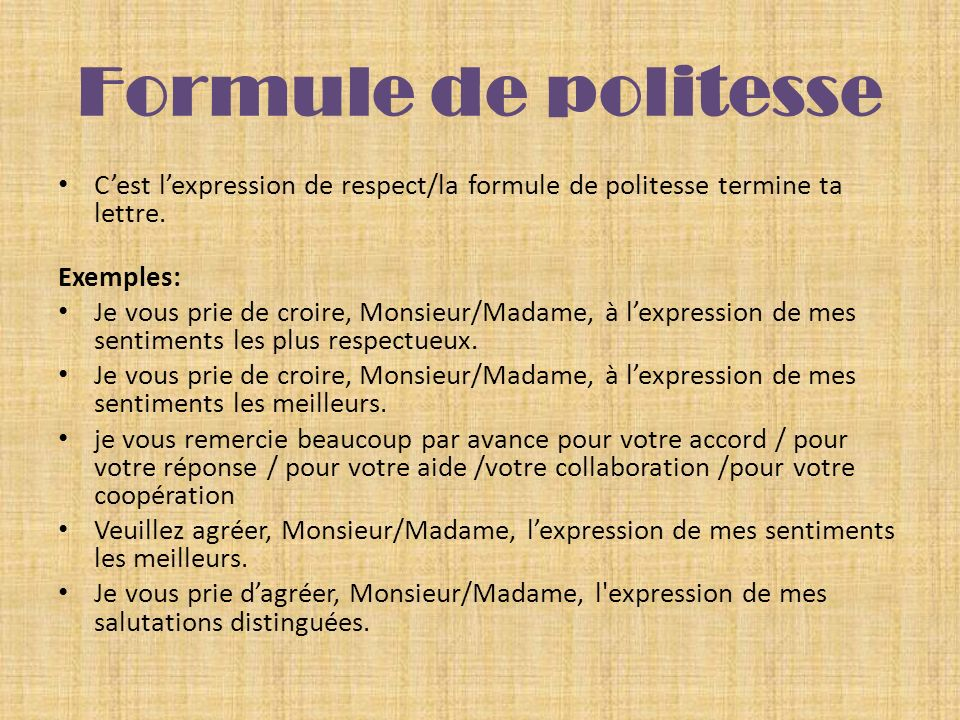 La lettre formelle (le texte fonctionnel)   ppt video online