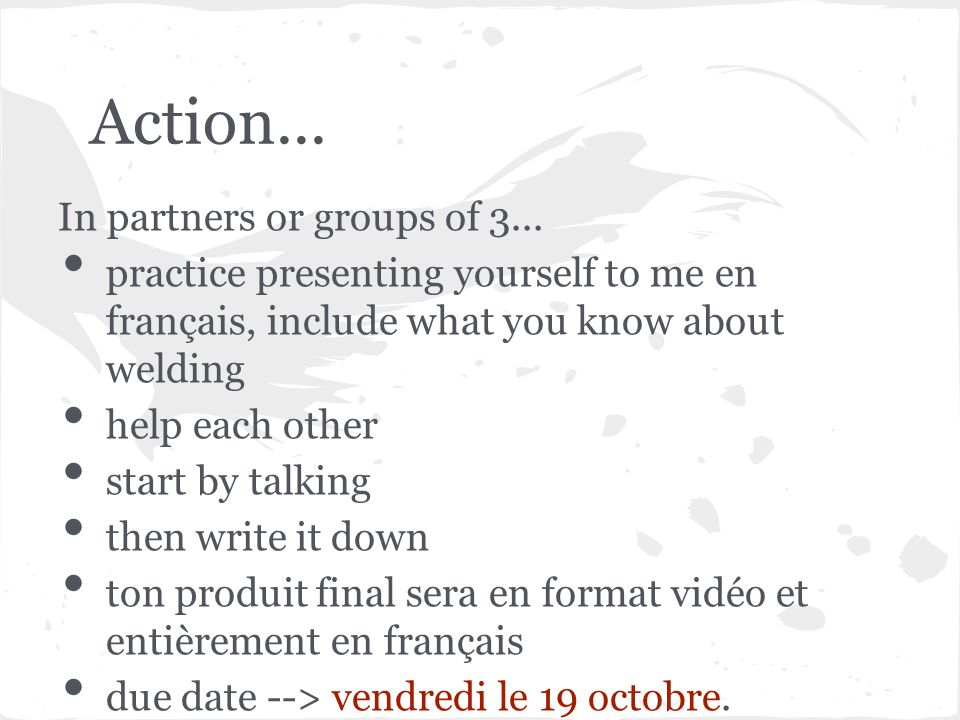 Action... In partners or groups of 3...