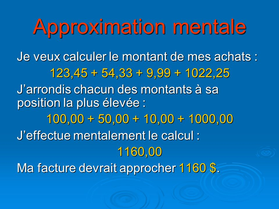 Approximation mentale