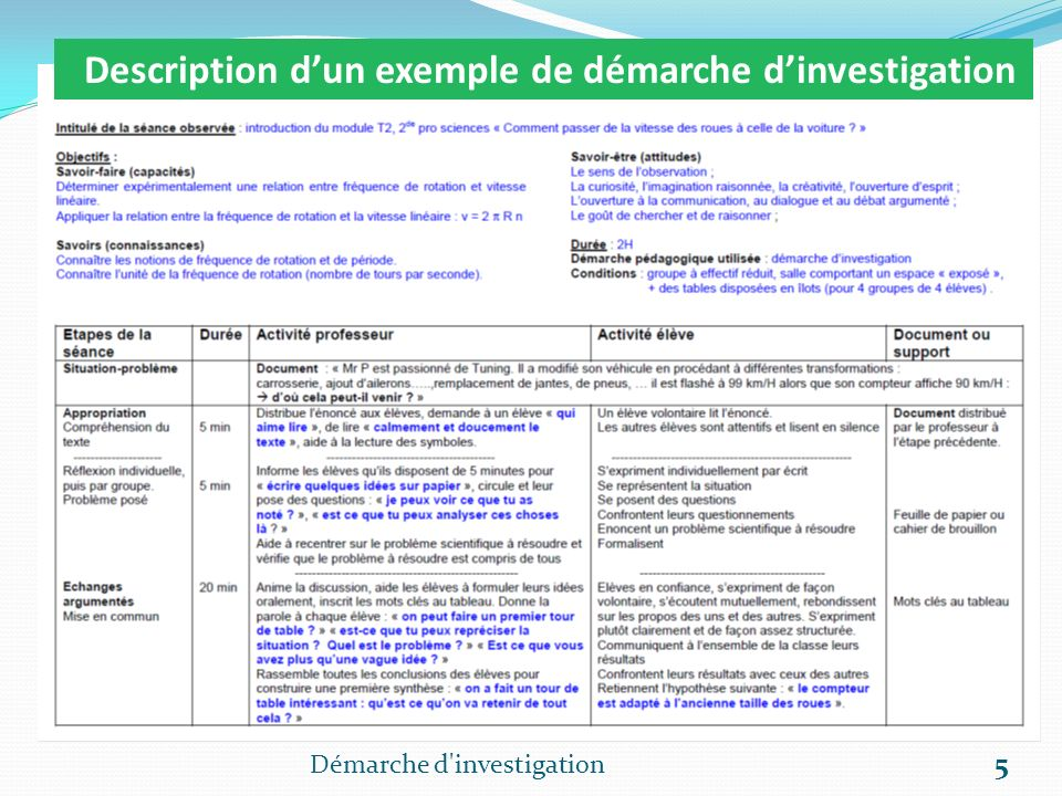 Description d'un exemple de démarche d'investigation
