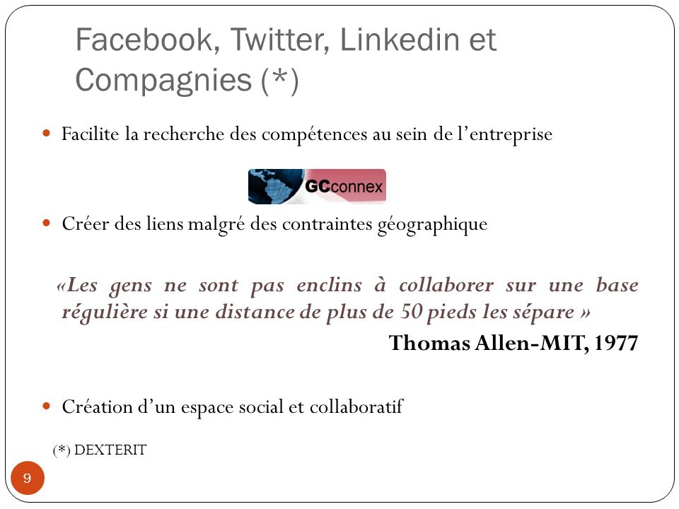 Facebook, Twitter, Linkedin et Compagnies (*)