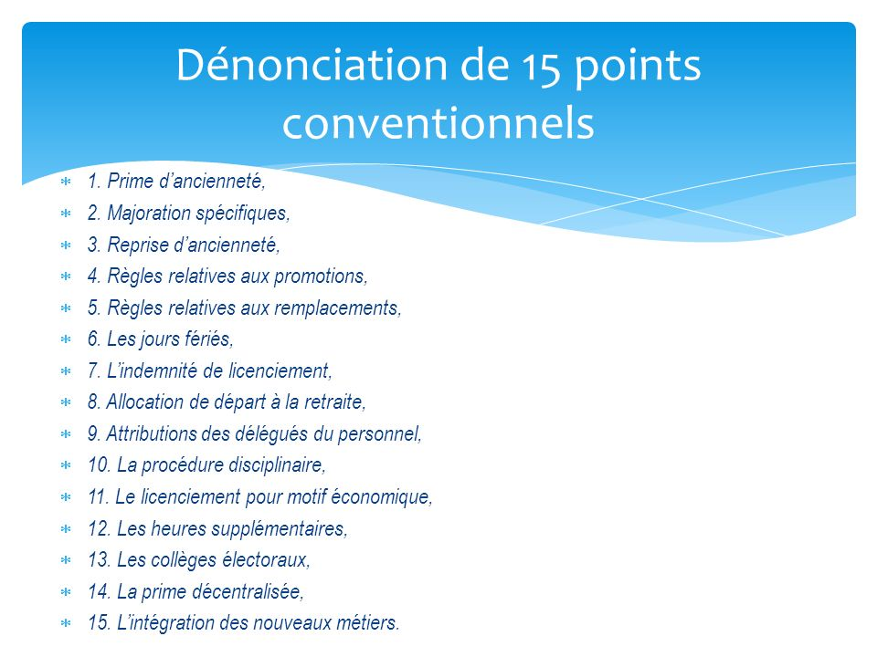 Dénonciation de 15 points conventionnels