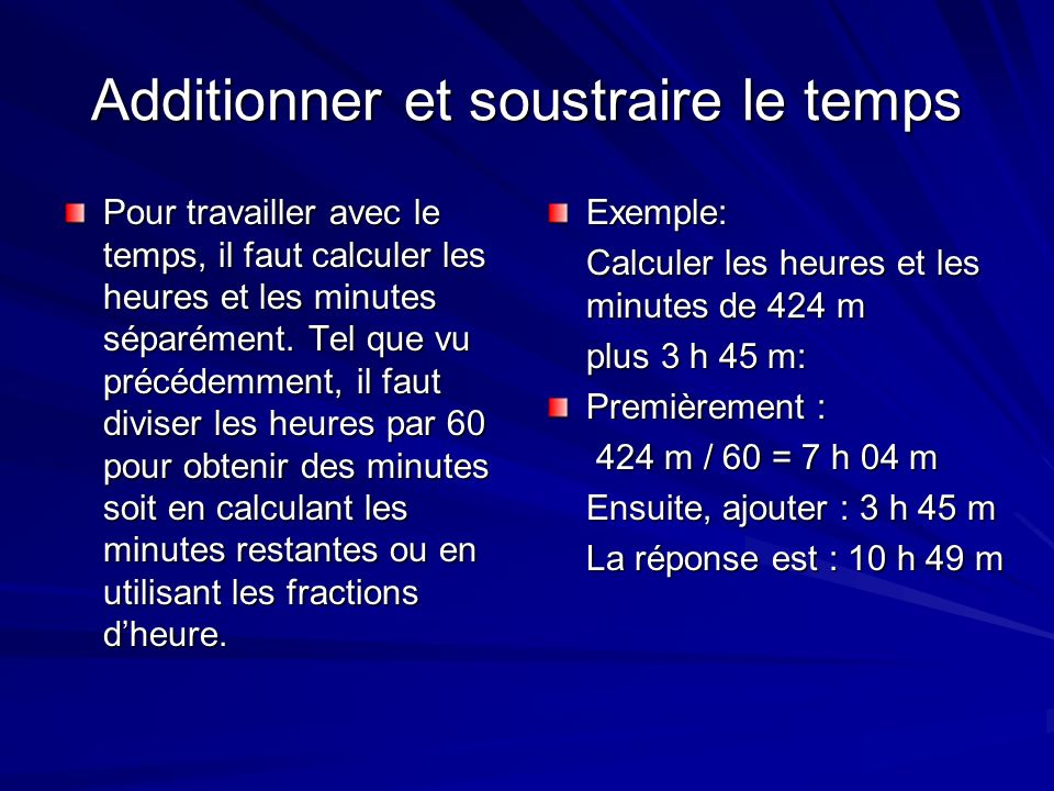 Additionner et soustraire le temps