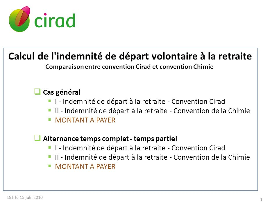 Comparaison entre convention Cirad et convention Chimie