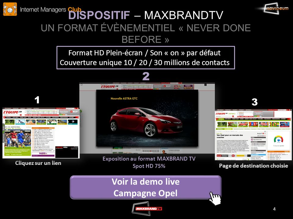 DISPOSITIF – MAXBRANDTV UN FORMAT ÉVÈNEMENTIEL « NEVER DONE BEFORE »