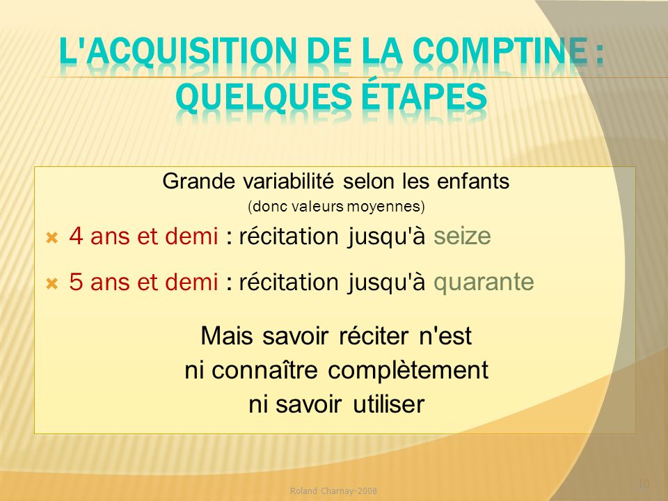 L acquisition de la comptine : quelques étapes