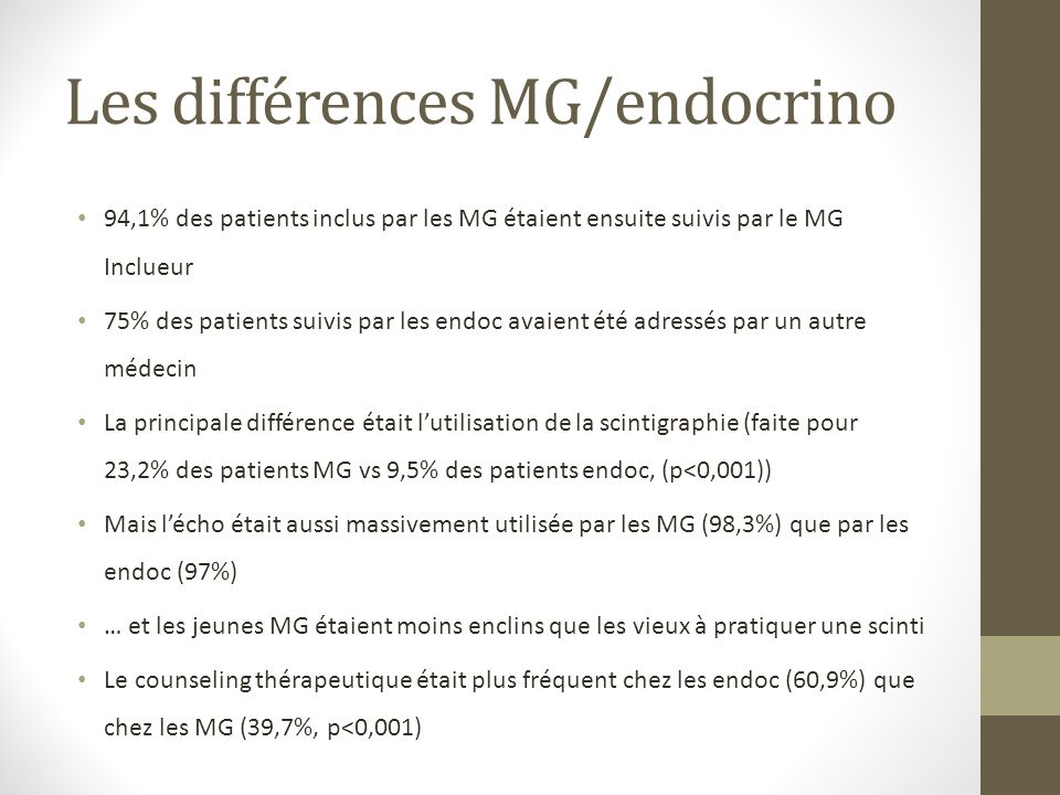 Les différences MG/endocrino