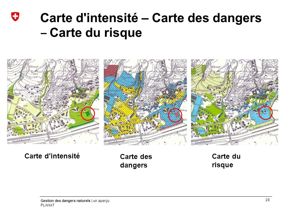 Carte d intensité – Carte des dangers ‒ Carte du risque
