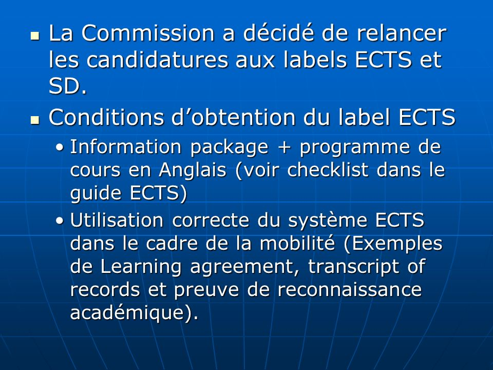 Conditions d'obtention du label ECTS