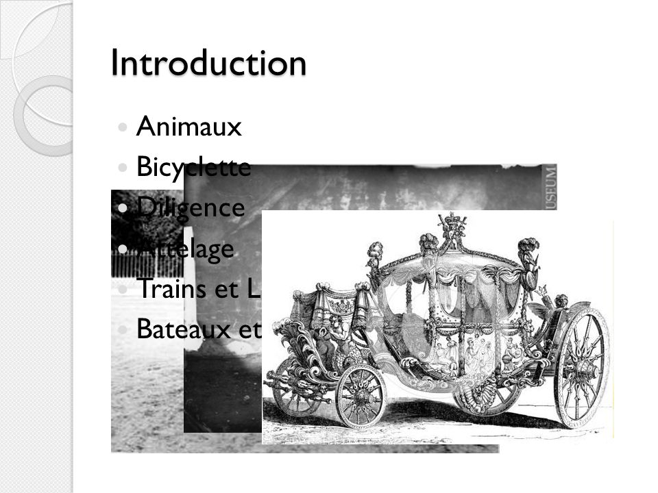 Introduction Animaux Bicyclette Diligence Attelage