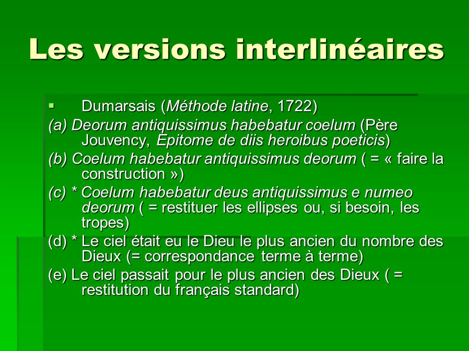 Les versions interlinéaires