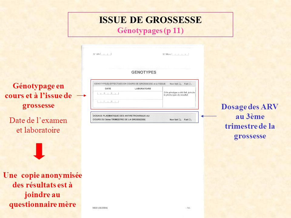 ISSUE DE GROSSESSE Génotypages (p 11)