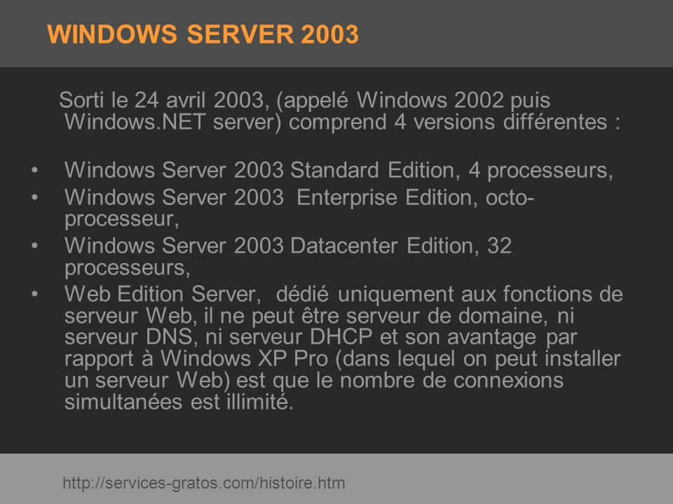 WINDOWS SERVER 2003 Sorti le 24 avril 2003, (appelé Windows 2002 puis Windows.NET server) comprend 4 versions différentes :