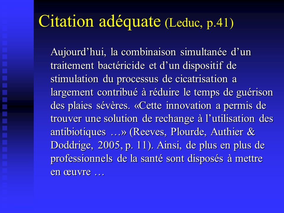 Citation adéquate (Leduc, p.41)