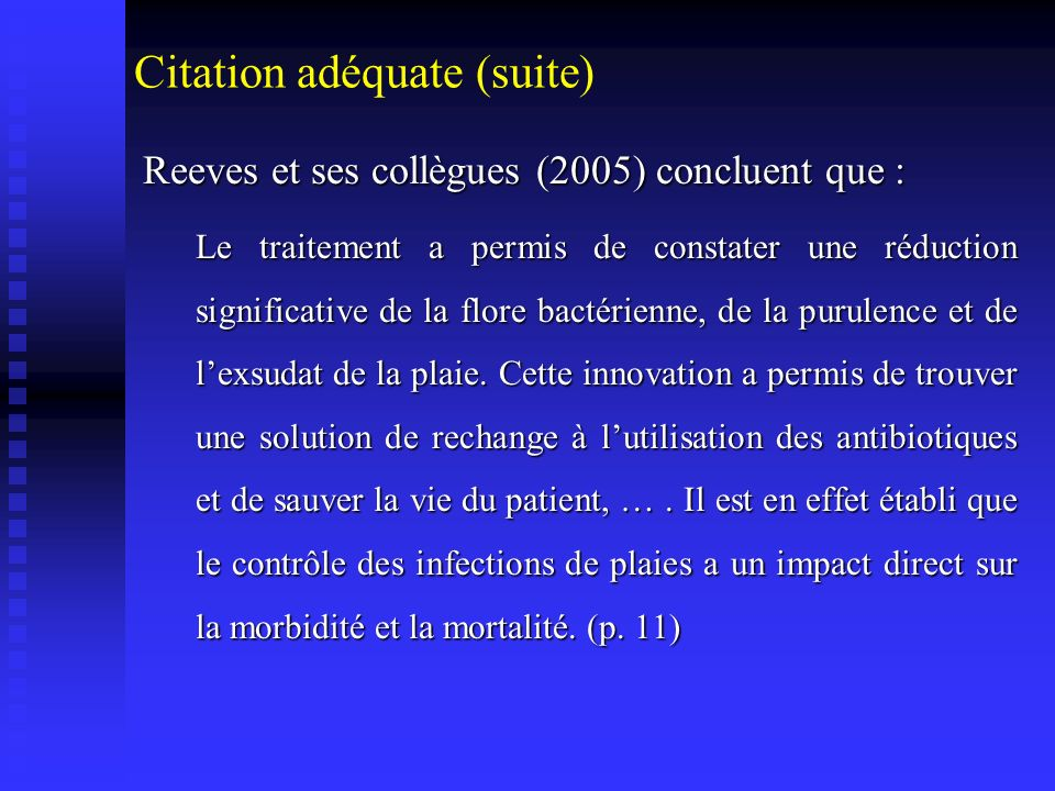 Citation adéquate (suite)