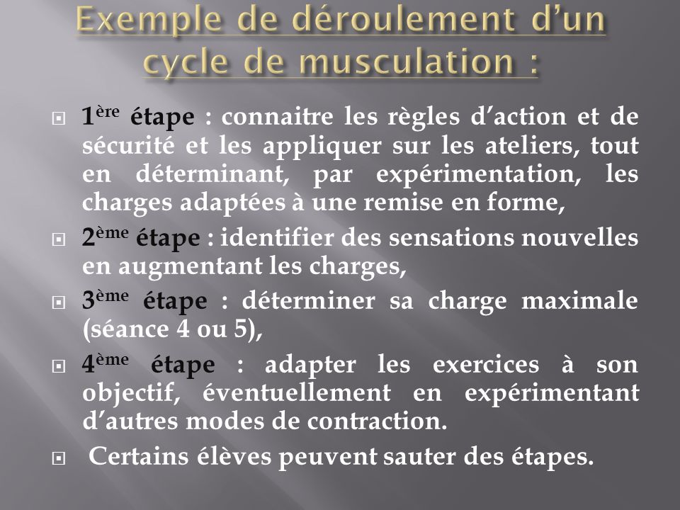 Exemple de déroulement d'un cycle de musculation :