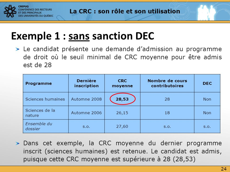 Exemple 1 : sans sanction DEC