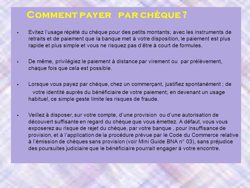 direction marketing et communication dmc bien utiliser le cheque ppt video online t l charger. Black Bedroom Furniture Sets. Home Design Ideas