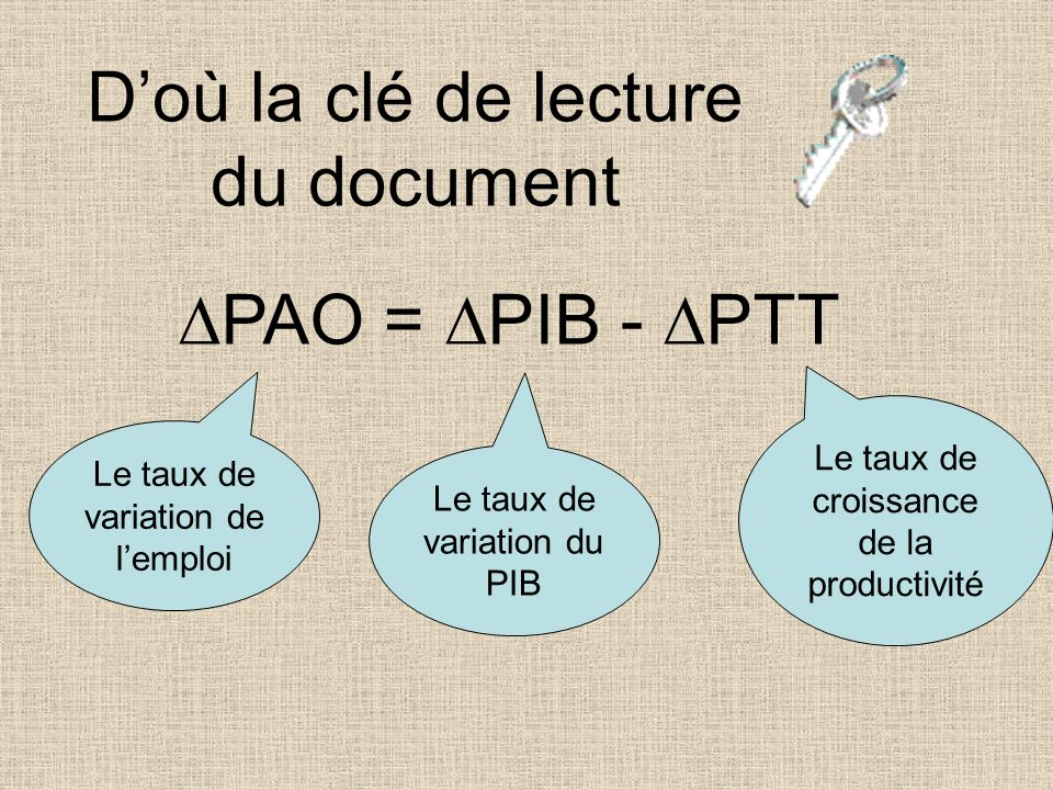 D'où la clé de lecture du document