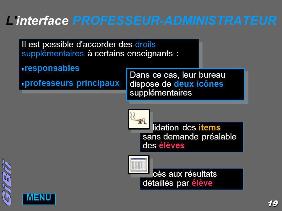 L interface PROFESSEUR-ADMINISTRATEUR