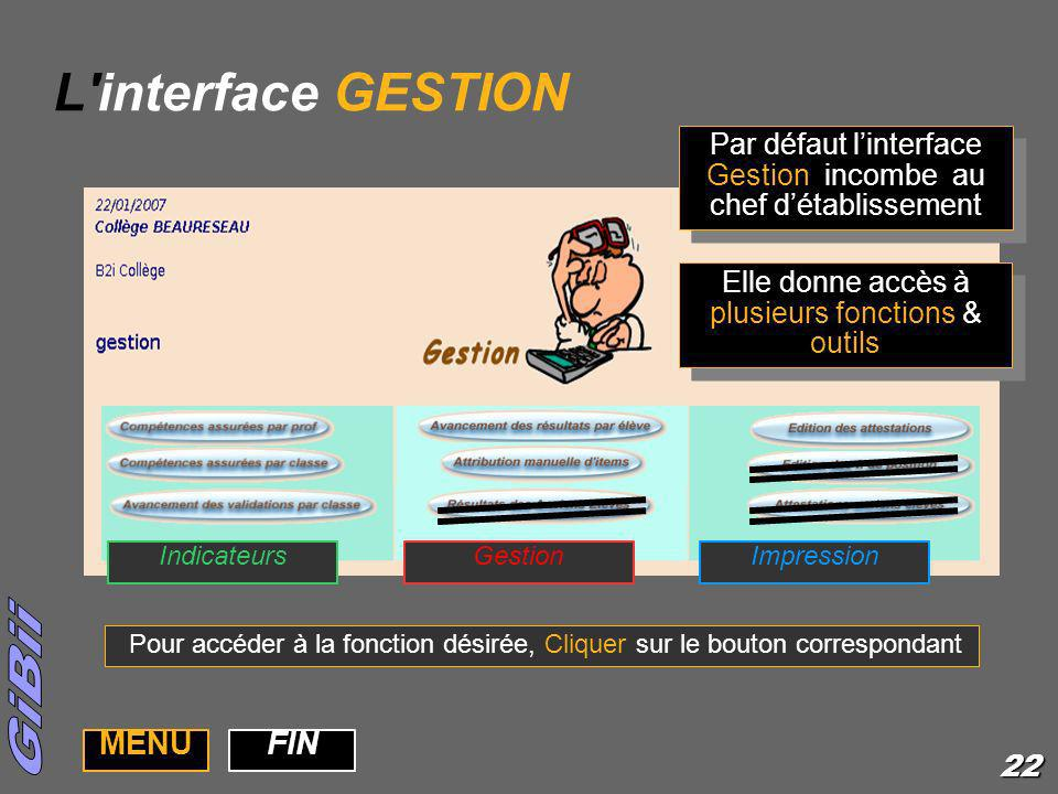 L interface GESTION MENU FIN