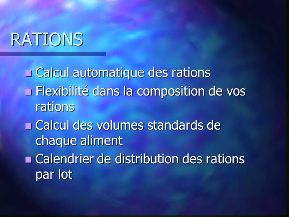 RATIONS Calcul automatique des rations