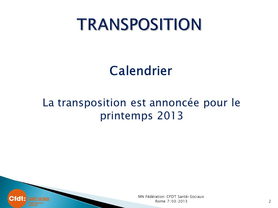 TRANSPOSITION Calendrier