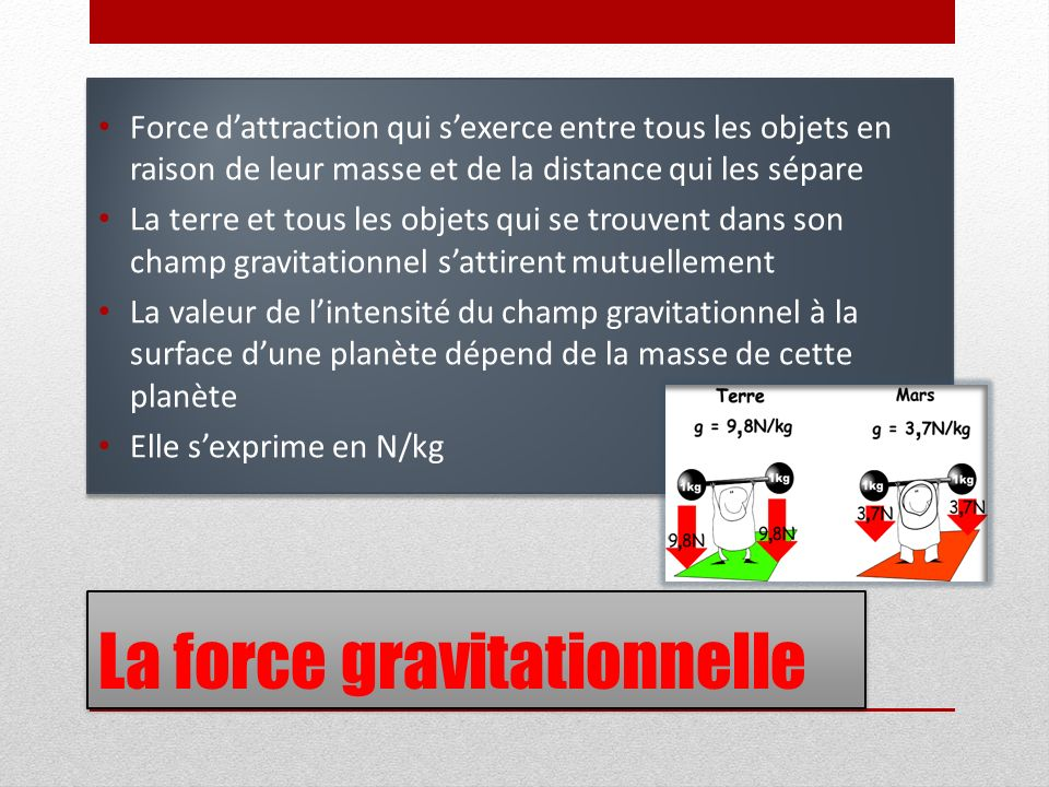 La force gravitationnelle