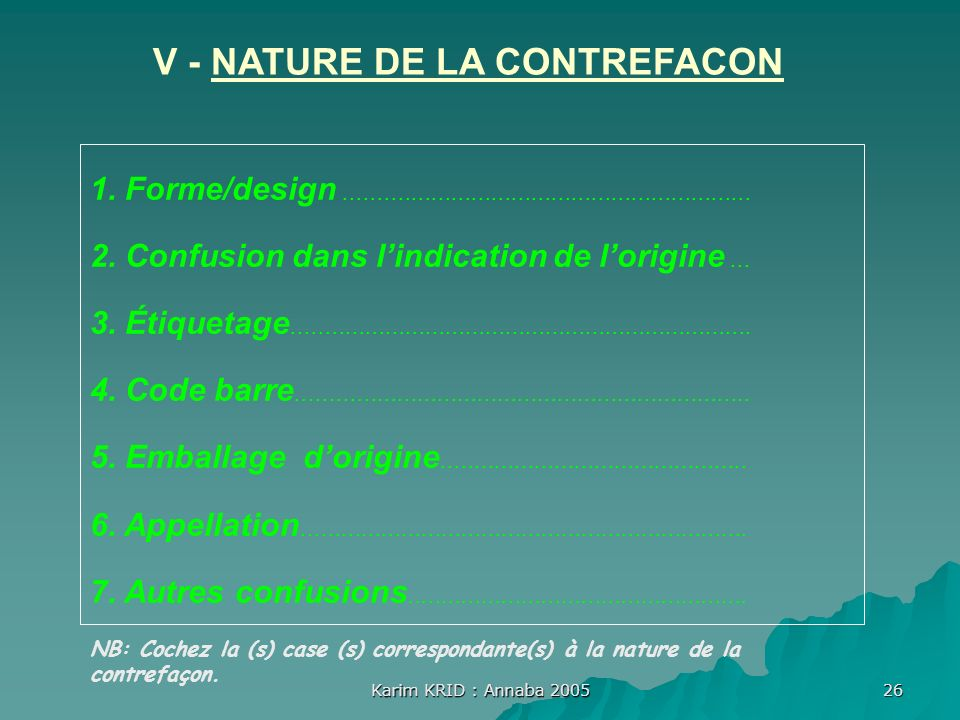 V - NATURE DE LA CONTREFACON