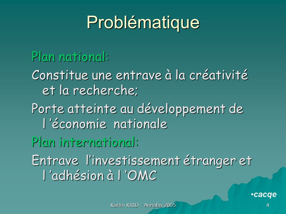 Problématique Plan national: