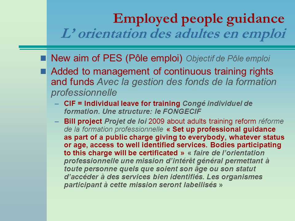 Employed people guidance L' orientation des adultes en emploi