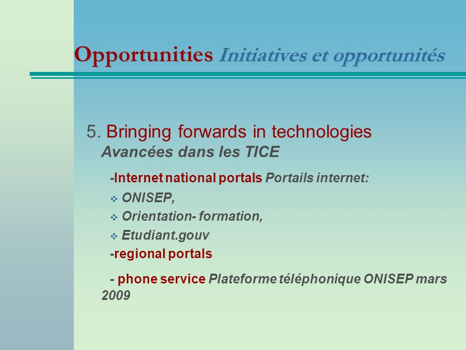 Opportunities Initiatives et opportunités