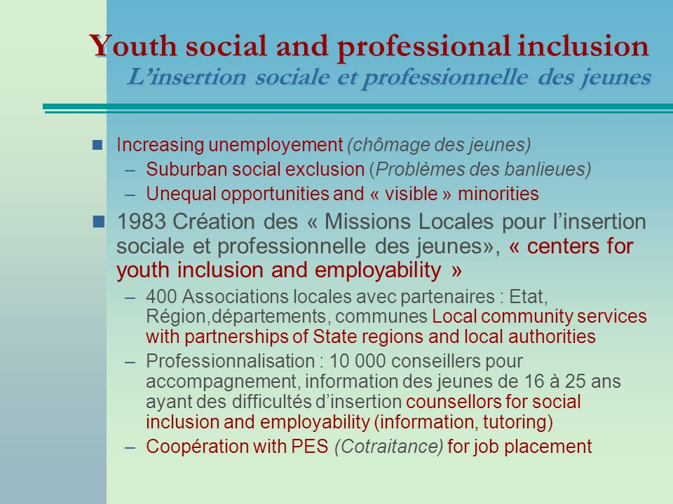 Youth social and professional inclusion L'insertion sociale et professionnelle des jeunes