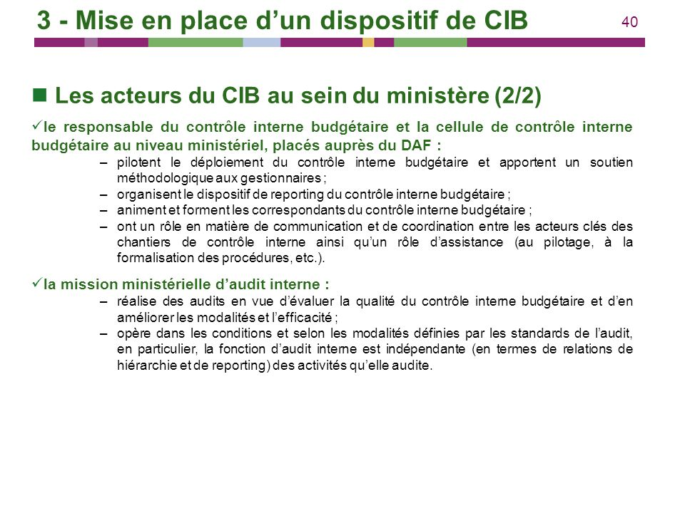 3 - Mise en place d'un dispositif de CIB