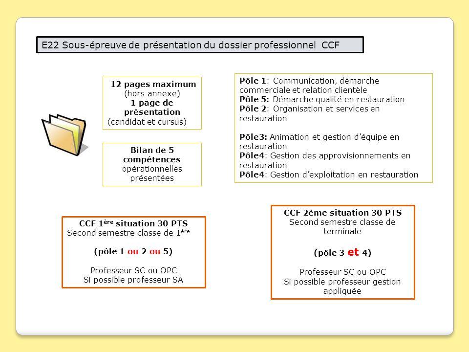 E22 Sous Epreuve De Presentation Du Dossier Professionnel Ccf