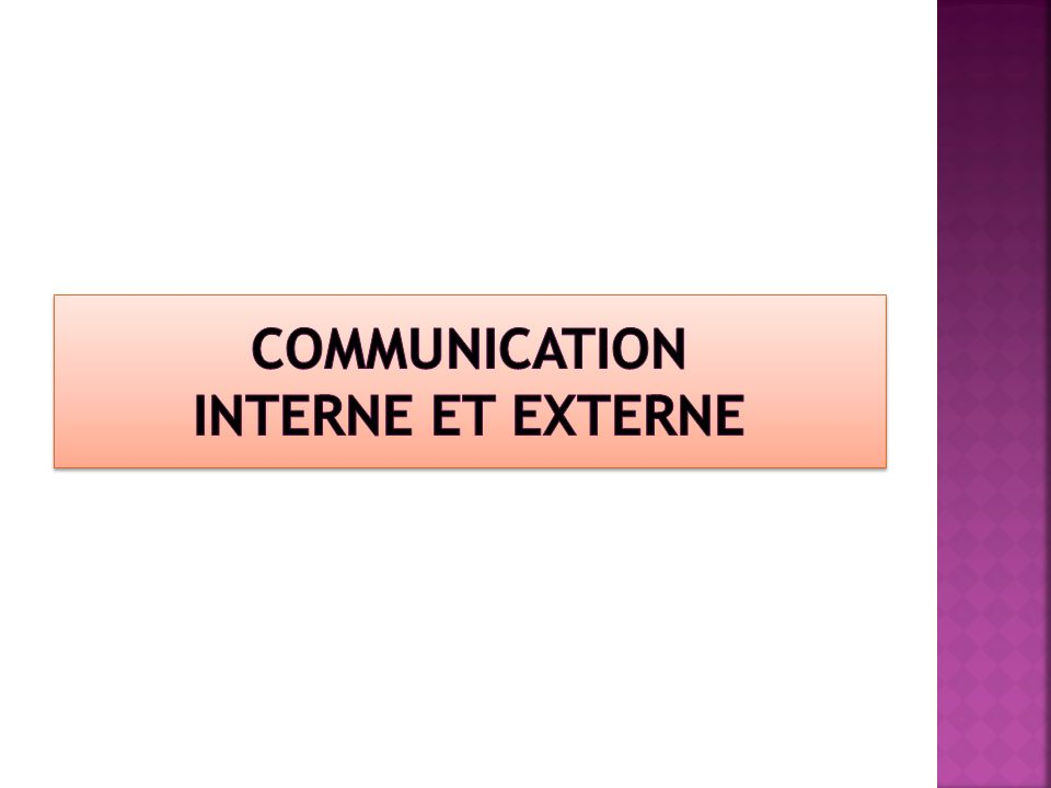 Communication interne et externe