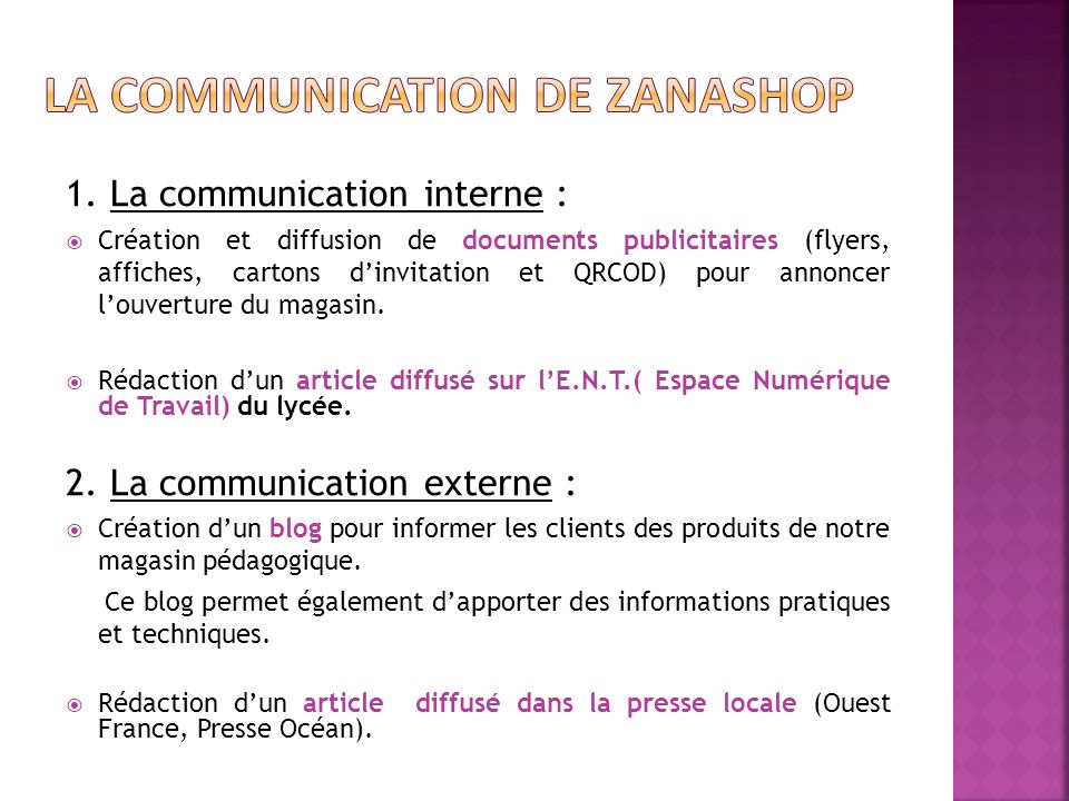 La COMMUNICATION de zanashop