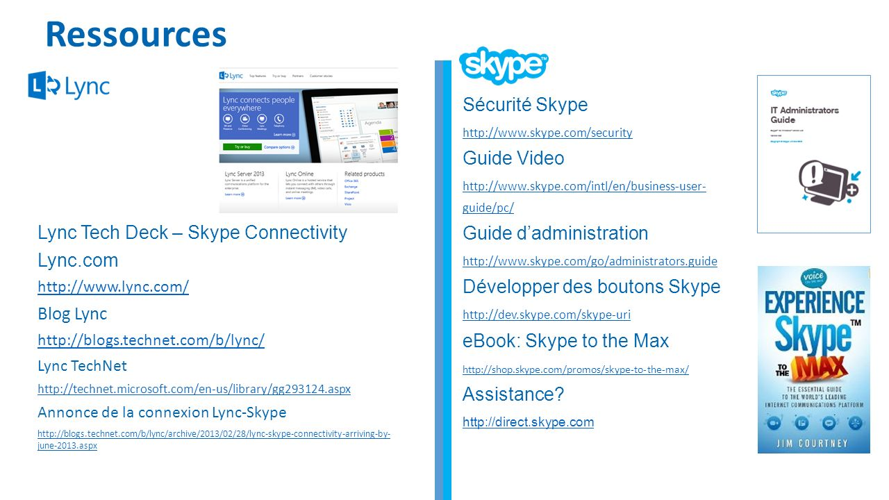 Ressources Sécurité Skype Guide Video Guide d'administration