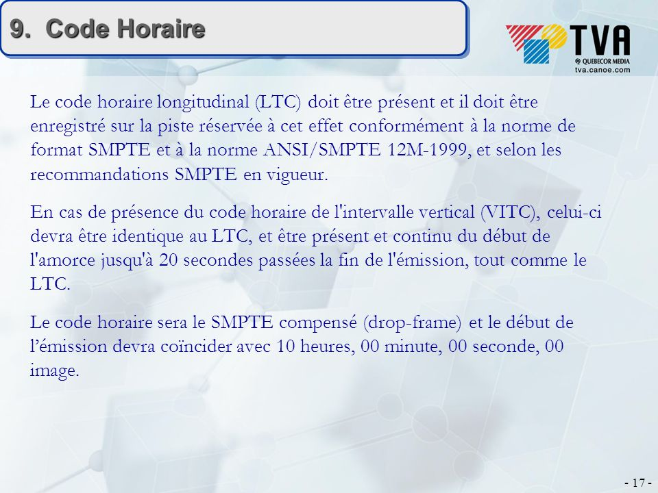 9. Code Horaire